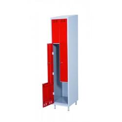 Klädskåp, röd/grå 2 d/Z-model