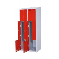 Klädskåp, röd/grå 4 d/Z-model